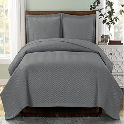 Deluxe Gray Chervon Oversized Bedspread set. Feels like silk against your skin for a luxurious n ...