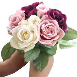 Clearance! Paymenow 9 Heads Artificial Silk Fake Flowers Leaf Rose Wedding Floral Decor Bouquet  ...