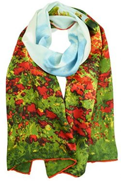 "Luxurious 100% Charmeuse Silk Art Long Scarf Shawl (Claude Monet ""Poppy Field in Argenteui ..."