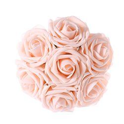 Ling's moment Artificial Flowers Blush Roses 50pcs Real Looking Fake Roses w/Stem for DIY  ...