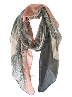 GERINLY Lightweight Scarves: Fashion Lace Print Shawl Wrap For Women (DarkGrey+LightPink)