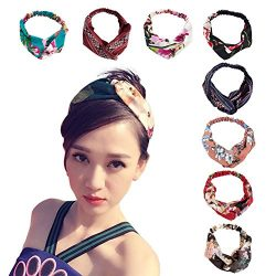 Women's Headbands Headwraps Hair Bands Bows Accessories (Style H), Criss Cross Silk Style  ...