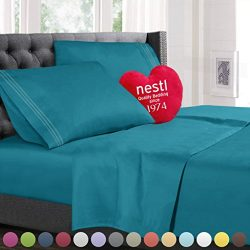Bed Sheet Bedding Set, Twin Single Size, Teal, 100% Soft Brushed Microfiber Fabric with Deep Poc ...