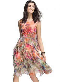 Floryday Women's Silk Floral Sleeveless Knee-Length Vintage dress (L)