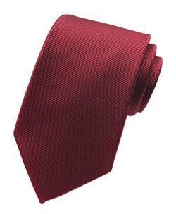 Elfeves Men's Big Boy Classic Wine Red Skinny Tie New Year Sunny Wedding Necktie