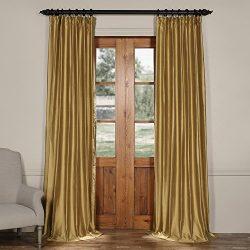 Half Price Drapes CTSK-161004-108 Cotton Silk Curtain, 50 X 108, Giza Gold