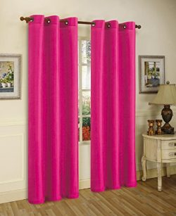 Gorgeous Home 1 PANEL SOLID HOT PINK SEMI SHEER WINDOW FAUX SILK ANTIQUE BRONZE GROMMETS CURTAIN ...