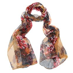 ChikaMika Priting Peony Scarf Light Weight Long Chiffon Silk Scarves (Khaki Red)