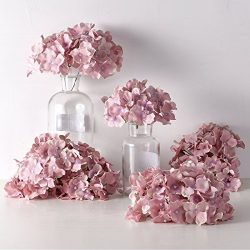 PARTY JOY Artificial Silk Hydrangea Flower Heads Fabric Floral DIY For Wedding Home Flower Wall  ...