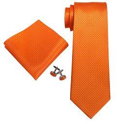 Landisun SILK Various Solids Mens SILK Tie Set: Necktie+Hanky+Cufflinks (3.25″Wx59″L ...