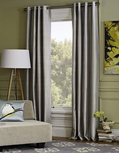 IHF 2 Panels Faux Silk Dupioni Solid Textured Lined Grommet Eyelet Ring Top Curtains Drapes (