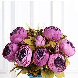 Bringsine Vintage Artificial Peony Silk Flowers Bridal Bouquet Home Wedding Decoration Flowers B ...