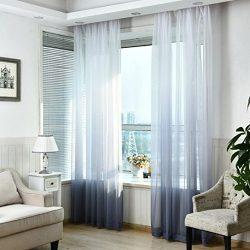 Window Curtain,Valances Tulle Voile Door Window Curtain Drape Panel Sheer Scarf Divider Dec (1,  ...