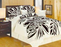 Oversize Queen Faux Silk Modern Beige Black Flocking Satin Comforter Set Bedding-in-a-bag.