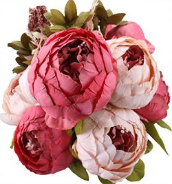 Duovlo Fake Flowers Vintage Artificial Peony Silk Flowers Wedding Home Decoration,Pack of 1 (Dar ...