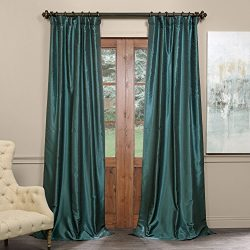 Half Price Drapes PDCH-KBS14BO-108 Blackout Vintage Textured Faux Dupioni Curtain, Peacock, 50 X 108