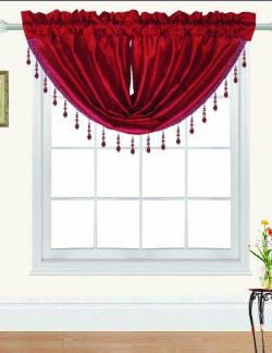 RT Designers Collection Nikki Faux Silk Beaded 47 x 37 in. Swag Valance, Red
