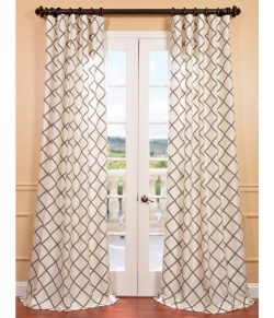 Half Price Drapes PTFFLK-C22B-108 Flocked Faux Silk Curtain, Pavillion Pearl