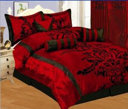 7 Piece Faux Silk Satin Comforter Set Bedding-in-a-bag, Burgundy Red Black- Full
