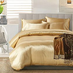 Zuanma Soft Silky Satin Solid Color 3pcs Bedding Set Include 1 Duvet Cover and 2 Pillowcases (Qu ...