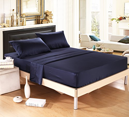 DelbouTree Silky Soft Solid Matte-Satin Bed Sheet Sets Shiny-Free,Deep Pocket Queen 4 Pieces, Navy