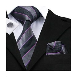 Hi-Tie Grey Striped Woven Silk Necktie Tie Handkerchief Cufflinks Set for Men
