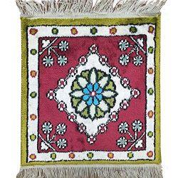 Yilong Carpet 1′ x 1′ Small Square Handmade Silk Carpet Qum Persian Turkish Rug Orie ...