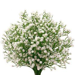 Senjie 9pcs Artificial fake Flowers 21″ Gypsophila Baby Breath Bouquets Silica Gel for Wed ...