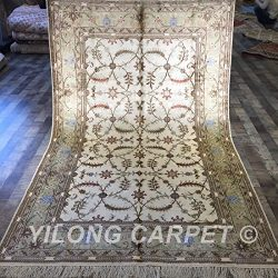 Yilong 5'x8′ Vintage Oriental Area Rugs Hand Knotted Persian Silk Carpet Floral Desi ...