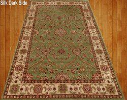 Homemusthaves Green Sage Beige Brown Red Orange Traditional Persian Floral Faux Silk Rug Carpet  ...