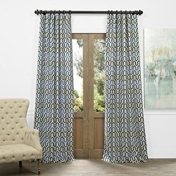 Half Price Drapes JQCH-AS223939-96 Faux Silk Jacquard Curtain, Cascade Blue, 50″ x 96″