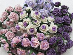 100 pcs mini Rose mixed Purple color Mulberry Paper Flower 10 mm scrapbooking wedding doll house ...