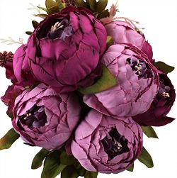 Duovlo Fake Flowers Vintage Artificial Peony Silk Flowers Wedding Home Decoration,Pack of 1 (Purple)