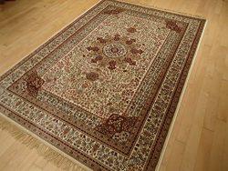 Silk Ivory Rug Persian Style Tabriz Rug 5×8 Living Room Rugs 5×7 Ivory Cream Carpet Ar ...