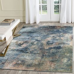 Safavieh Constellation Vintage Collection CNV765-2220 Abstract Watercolor Light Blue and Multi V ...