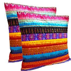 Handmade Silk Home Decor Cushion Cover, Royal Indian Patola Designer Patches Cushion Cover, Beau ...