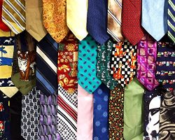 Men's Silk and Polyester Neckties for Crafts or Quilting (50 Pack)