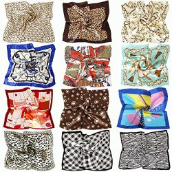 BMC 12pc Women's Silky Scarf Square Mixed Animal Patterns & Colors Fashion Accessory S ...