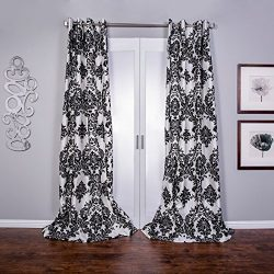 Venetian Damask Flock Faux Silk Curtain Panel 96 inch