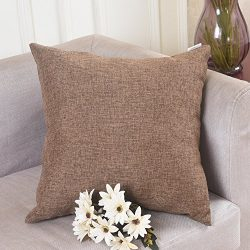 Home Brilliant Solid Linen Euro Throw Pillowcase Cushion Cover for Living Room, 24″x24&#82 ...