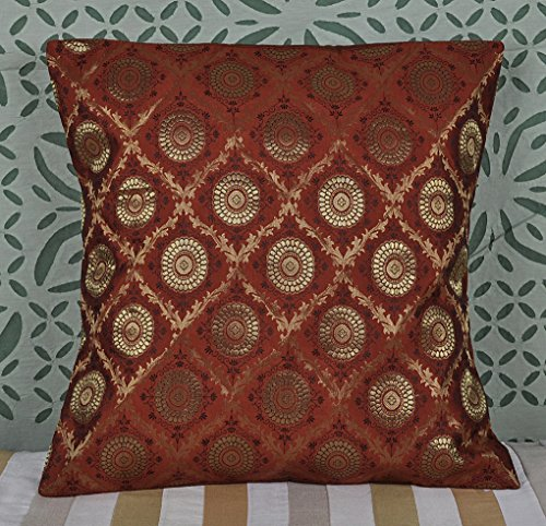 Decorative Entrance Handmade Ethnic Silk Cushion Cover 18 X 18 Inches