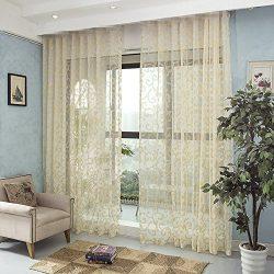 AliFish 1 Panel Transparent Sheer Curtains with Golden Thread Rod Pocket Sheer Natural Light Flo ...