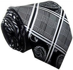 Allbebe Men's Fashion Grey Jacquard Woven Silk Tie Microfiber Formal Necktie (One size, bl ...