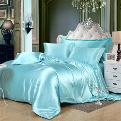 Lotus Karen Luxury Silk Like Satin Bedding Sets,1Duvet Cover,1Fitted Sheet,2Pillowcases,Solid Co ...