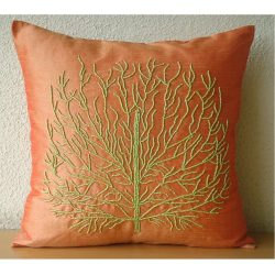 Designer Orange Pillow Cases, Beaded Green Tree Pillows Cover, 20″x20″ Throw Pillows ...