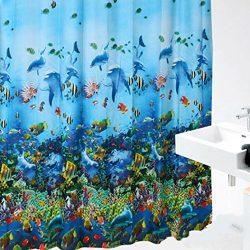 EVA Waterproof and Mouldproof Shower Curtains , FheavenOcean Sea Life Fish Curtains Colorful Bri ...