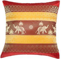 Avarada 16×16 Inch (40×40 cm) Print Elephant Sun Decorative Throw Pillow Case Cushion  ...