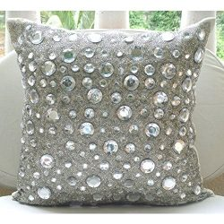 Handmade Silver Throw Pillow Covers, Rhinestones and Crystals Sparkly Glitter Pillows Cover, 14& ...