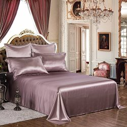 THXSILK 4pcs Silk Sheets Set 100% 19mm Mulberry Silk Embroidery Luxury Bed Linen (Dark Thistle,  ...