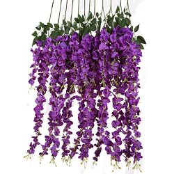 Luyue 3.18 Feet Artificial Silk Wisteria Vine Ratta Silk Hanging Flower Wedding Decor,6 Pieces,W ...